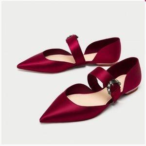 Zara Satin Red Ballet Flats with Jewel Buckle